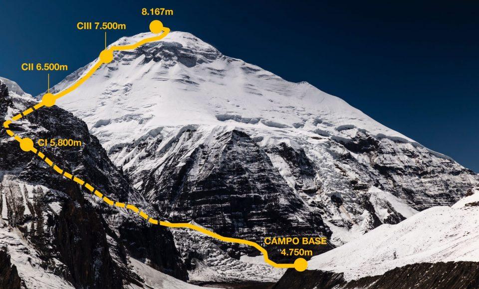 Dhaulagiri ruta normal de ascensión que tiene previsto seguir Carlos Soria.