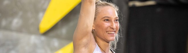 Janja Garnbret en la Copa del Mundo de Dificultad de Kranj 2021.
