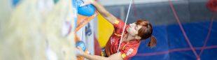 Marta Peche en las semifinales de la Copa del Mundo de Paraescalada en Moscu 2021