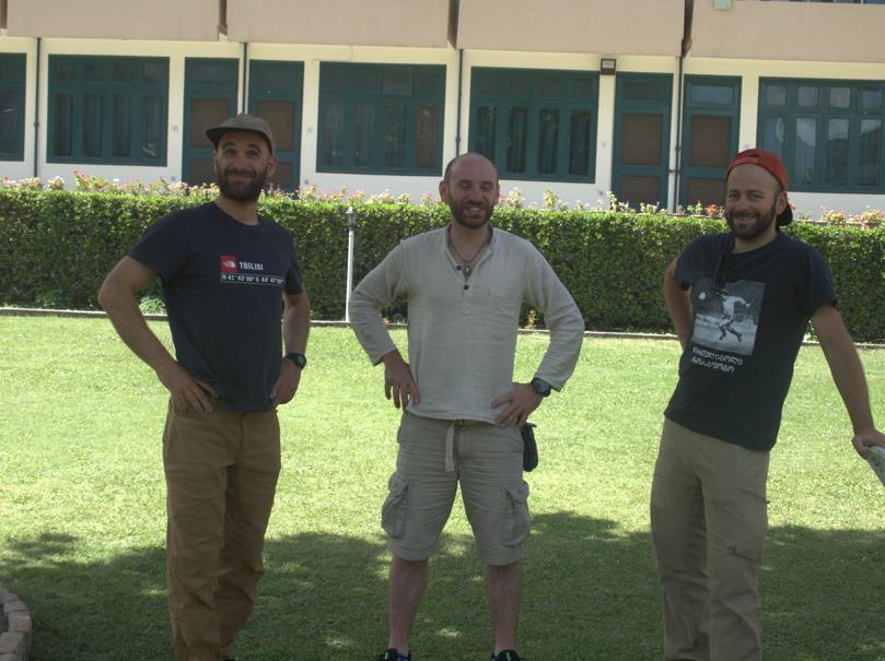 Giorgi Tepnadze, Baqar Gelashvili y Archil Badriashvili (Foto: Hussein Ahmed).