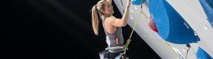 Jessica Pilz en el Campeonato del Mundo de Escalada de Dificultad de Moscú 2021.