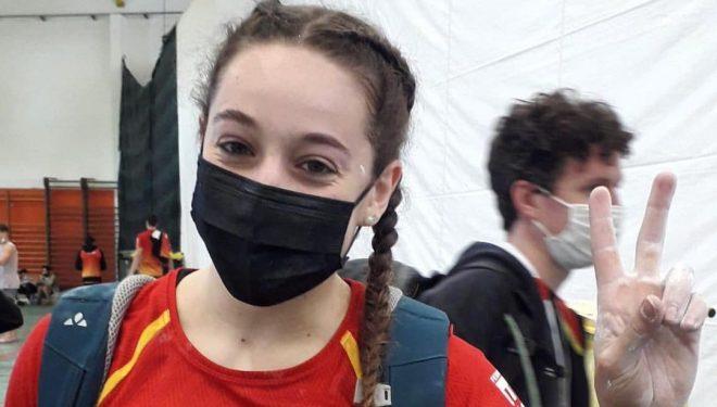 Aida Torres en la Copa de Europa de Búlder Juvenil 2021 de Soure (Portugal).