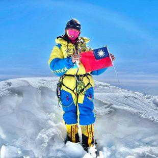 Grace Tseng en la cima del Kangchenjunga.