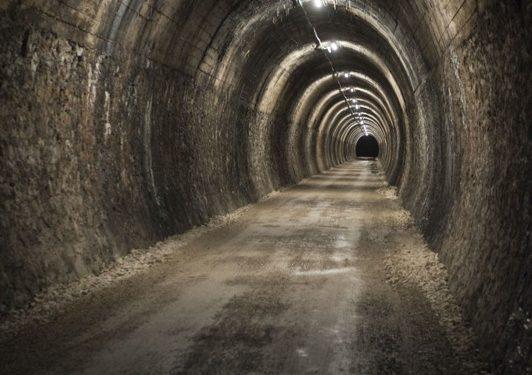 El túnel de Uitzi iluminado.  (Gobierno de Navarra)