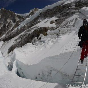 Un sherpa cruza una escalera en la Cascada de Hielo del Everest (2011)  (©Darío Rodríguez/Desnivel)