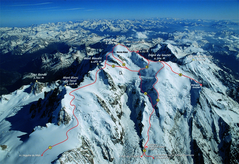 1d4df5c48b0 Rutas de ascenso al Mont Blanc donde se aprecia la Travesía de los  Cuatromiles