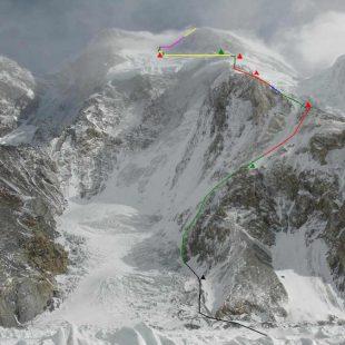 Línea de la ruta prevista al Broad Peak invernal 2013  (Expedición Polaca al Broad Peak invernal 2013)