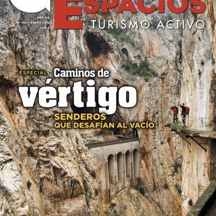 Portada de la revista Grandes Espacios nº 195. Especial Caminos de vértigo. Enero 2014. [WEB]  (David Munilla)