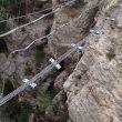 Varios cables rotos en el puente tibetano que une dos sectores de la vía.  (Cristina Galofre)