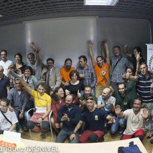 Reda de prensa con el equipo de espeleosocorristas que han rescatado a su compañero Cecilio López-Tercero. 2014  (Darío Rodríguez)