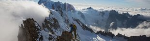 Korra Pesce hace cumbre en la Couzy-Desmaison de la norte de las Grandes Jorasses (Mont-Blanc)  (Jon Griffith / Alpine Exposures)