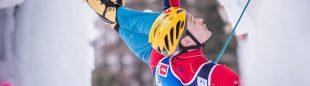 Maxim Tomilov en el Campeonato del Mundo de Escalada en Hielo 2015 (Rabenstein