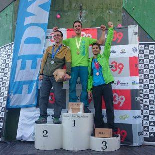 Podio masculino del Campeonato de España de Dificultad 2015: Javi Cano (1º)