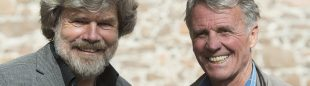 Reinhold Messner y Peter Habeler en el International Mountain Summit 2014.  (© Darío Rodríguez/DESNIVEL)