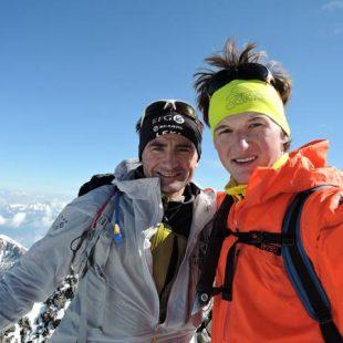 Ueli Steck y Michi Wohlleben en la cumbre del Bernina durante el reto 82 Summits  (82summits.com)