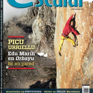 Portada de la revista Escalar 99. Edu Marín en Orbayu 8c en pared [WEB]  ()