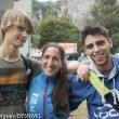 El equipo escaladores español que participó en el Campeonato Juvenil Escalada celebrado en Arco (2015). Mikel Linacisoro y Jonatan Flor junto a Irati Anda