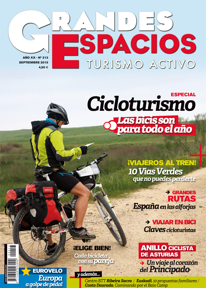 Portada de la revista Grandes Espacios nº 213 Especial Cicloturismo. Septimbre 2015.  [WEB]  ()