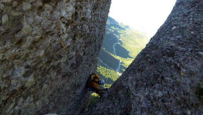 La chimenea del final de la vía es uno de los pasajes más delicados de La Teresina.  (FEEC)