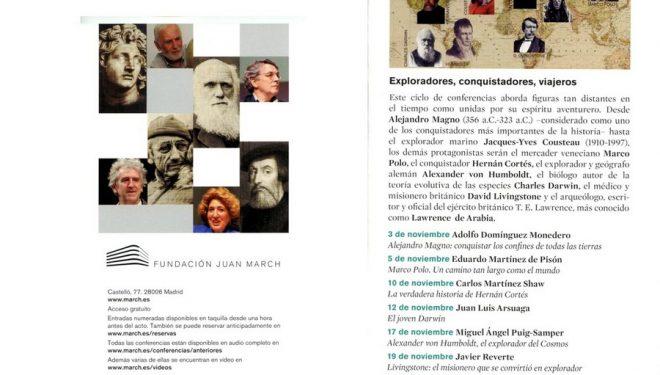 Programa conferencias sobre exploradores. Fundación Juan March