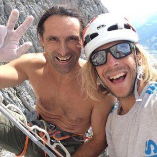 Alex Huber y Guido Unterwurzacher tras liberar Südwind en Wilder Kaiser.  (Huber)