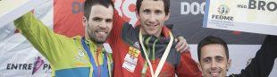Podio masculino segunda prueba Copa España Escalada  2016 celebrada en Zaragoza. Ramón Julián (ganador) Iñaki Arantzamendi (segundo) y Javi Cano (tercero)  (Darío Rodríguez / DESNIVEL)