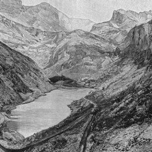 Un grabado de la época muestra el lago de Ándara hace 126 años.  ()