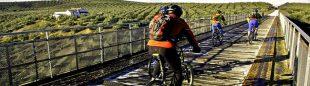 Un grupo de ciclistas pasa para uno de los puentes de la Vía Verde de la Subbética  ()
