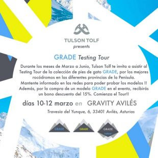 Cartel promocional de la primera parada del GRADE Testing Tour de Tulson Tolf  ()