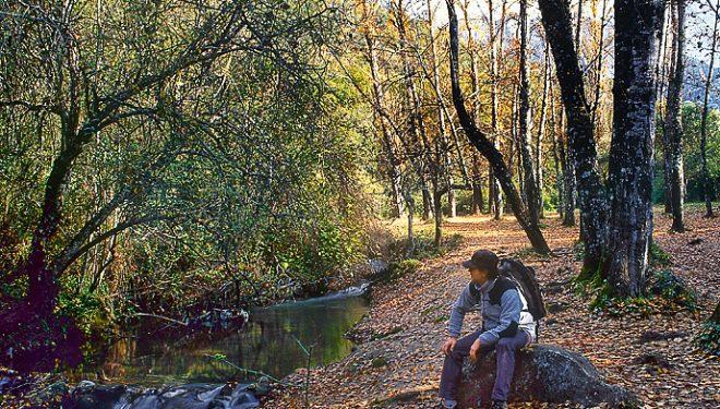 Senderista descansando en pleno Río El Bosque