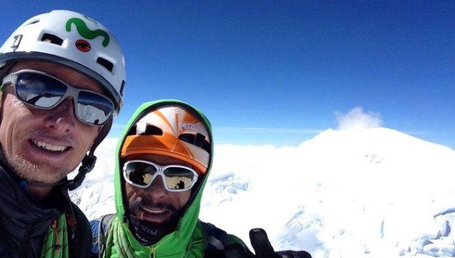 Karl Egloff y Nicolás Miranda en la cumbre del Huascarán 2016