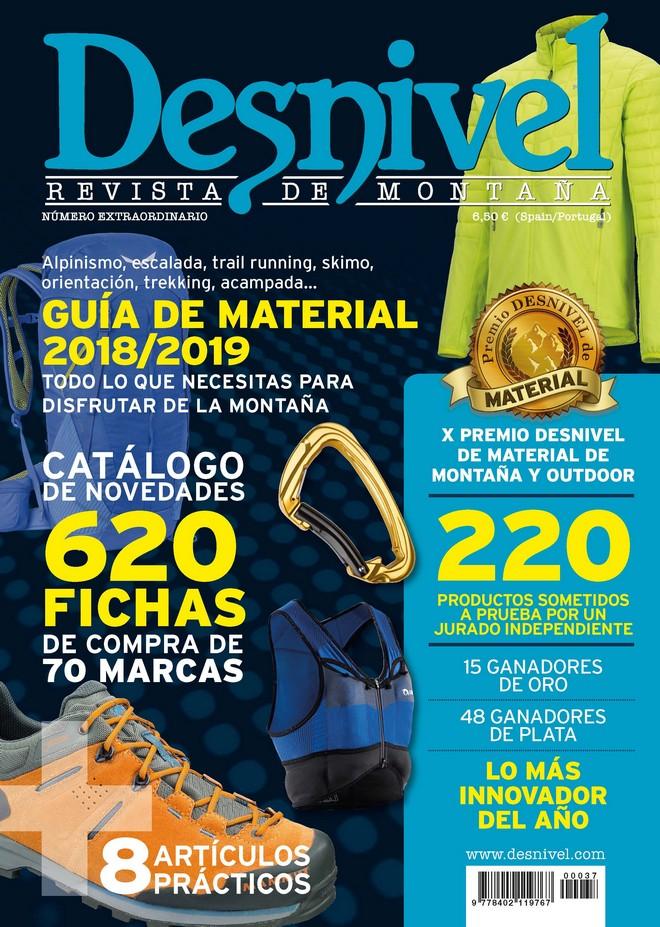 Portada de la revista Especial Material 2018/2019. Guía de material de montaña Desnivel.