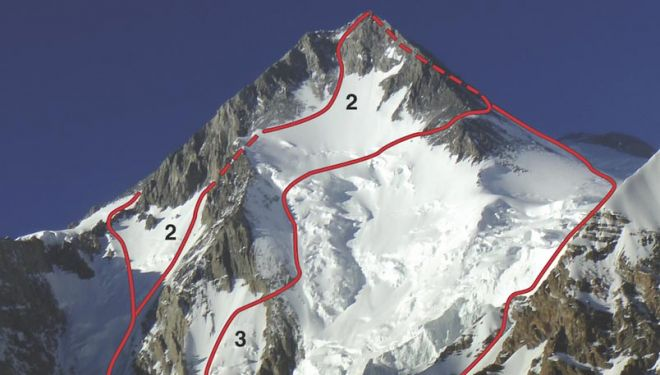 Gasherbrum I (8068 m), cara suroeste 1.- Ruta rusa, 2008 2.-Satisfaction, 2017 3.-Ruta polaca, 1983 4.- Ruta española, 1983
