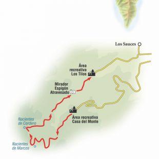 Ruta desde La Casa del Monte hasta el Centro de Visitantes de Los Tilos en La Palma