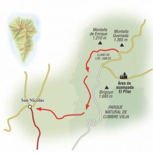 Ruta que va desde el Llano de los Jables a San Nicolás en la Manchas.