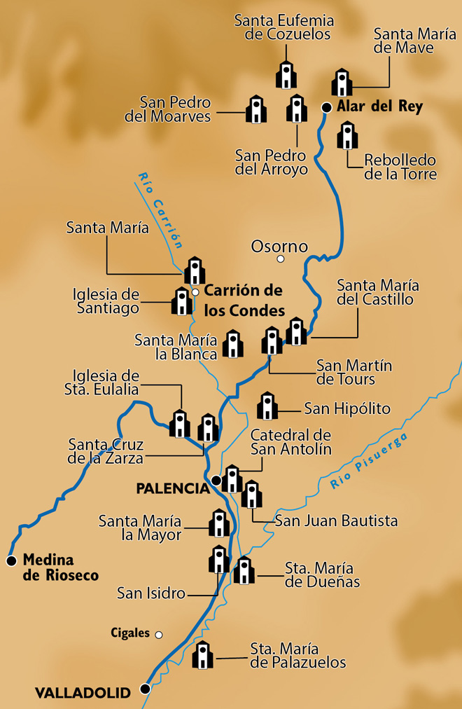 Mapa de la ruta del románico en el Canal de Castilla