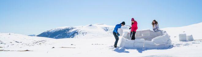 Colocando ladrillos de nieve para construir un iglú