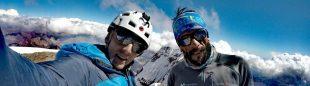 Karl Egloff y Nico Miranda en la cima del Aconcagua