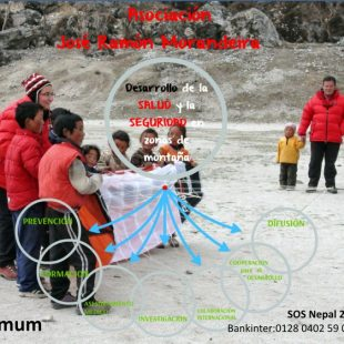 Cartel de ayuda a Nepal tras el terremoto 2015.  (Asociación José Ramón Morandeira)