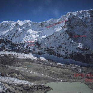 Gráfico de la Cara Norte del Chamlang que está intentando la expedición de Alberto Iñurrategi