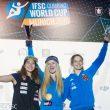 Podio femenino de la Copa del Mundo de Búlder 2016: 1ª Shauna Coxsey