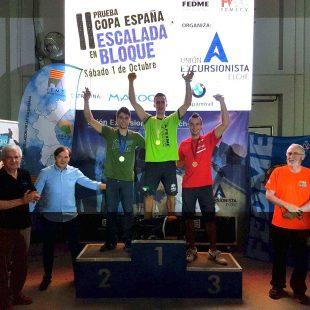 Podio masculino de la 2ª prueba de la Copa de España de Bloque 2016  (FEDME)
